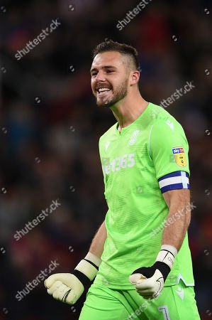 Goal Keeper Jack Butland of Stoke City celebrates.