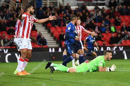Goal Keeper Jack Butland of Stoke City shows a look of dejection after the goal.