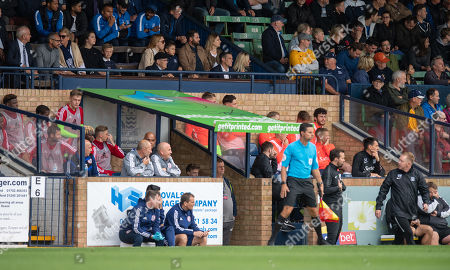 Henrik Larsson looks on from the directors box as Southend United Caretaker Manager Gary Waddock looks on