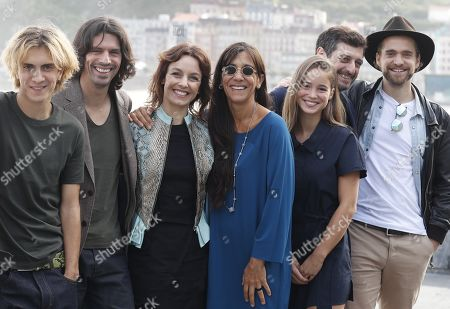 Stock Photo of Portuguese film director Goncalo Waddington (2-L) and cast-members Hugo Fernandes (L), Carla Maciel (3-L), Alba Baptista (3-R), Raphael Tschudi (R), Teresa Sobral (C) and Adriano Carvalho (2-R) pose for the photographers during the presentation of the film 'Patrick' as part of San Sebastian International Film Festival, in San Sebastian, Basque Country, Spain, 25 September 2019. The festival runs from 20 to 28 September.