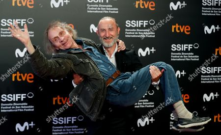 Stock Picture of Michel Houellebecq (L) and French filmmaker Guillaume Nicloux (R) attend the premiere of the movie 'Thalasso' at the San Sebastian International Film Festival (SSIFF) in San Sebastian, Basque Country, Spain, 25 September 2019. Thalasso competes in the official section festival, which runs from 20 to 28 September.