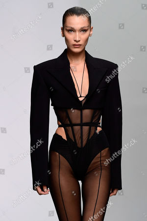 US model Bella Hadid presents a creation from the Spring/Summer 2020  Ready to Wear collection by American designer Casey Cadwallader for Mugler label brand during the Paris Fashion Week, in Paris, France, 25 September 2019. The presentation of the Spring/Summer 2020 collections runs from 23 September to 1 October 2019.