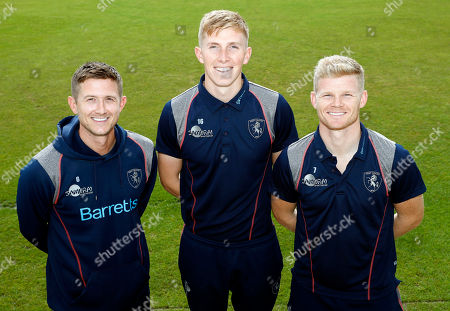 Stock Image of Kent and England players Joe Denly (L), Zak Crawley (C) and Sam Billings pose for a photo during Kent CCC vs Hampshire CCC, Specsavers County Championship Division 1 Cricket at The Spitfire Ground on 25th September 2019