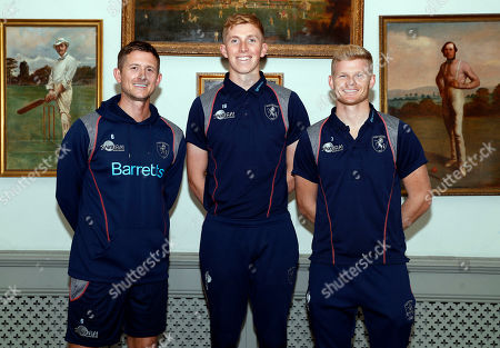 Kent and England players Joe Denly (L), Zak Crawley (C) and Sam Billings pose for a photo during Kent CCC vs Hampshire CCC, Specsavers County Championship Division 1 Cricket at The Spitfire Ground on 25th September 2019