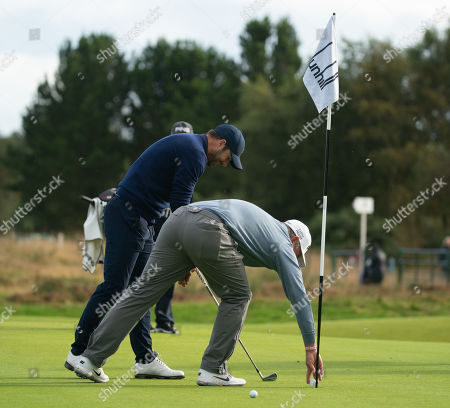 Lee Westwood gets a hole in one at the 8th hole at Carnoustie Golf Links.