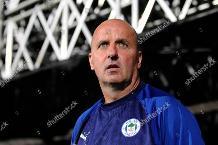 Paul Cook of Wigan Athletic prior to the Sky Bet Championship match between Fulham and Wigan Athletic at Craven Cottage in London, UK - 27th September 2019