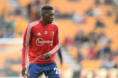 28th September 2019, Molineux, Wolverhampton, England; Premier League, Wolverhampton Wanderers v Watford : Ismaila Sarr (23) of Watford during the pre match warm up.
