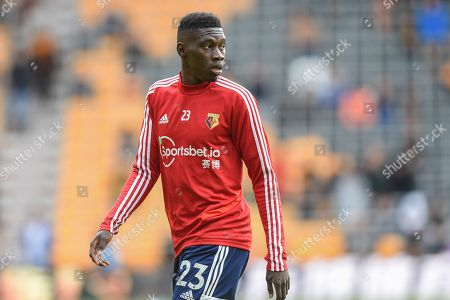 Stock Image of 28th September 2019, Molineux, Wolverhampton, England; Premier League, Wolverhampton Wanderers v Watford : Ismaila Sarr (23) of Watford during the pre match warm up.