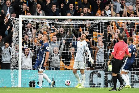 28th September 2019, Molineux, Wolverhampton, England; Premier League, Wolverhampton Wanderers v Watford : Daryl Janmaat (2) of Watford despairs at the own goal making it 2-0 to Wolves   Credit: Richard Long/News Images