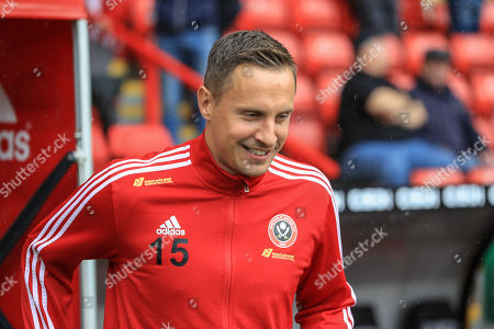 Stock Photo of 28th September 2019, Bramall Lane, Sheffield, England; Premier League, Sheffield United v Liverpool : Phil Jagielka (15) of Sheffield United  Credit: Mark Cosgrove/News Images