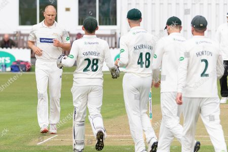 WICKET - Dieter Klein is congratulated for the wicket of Alex Davies during the Specsavers County Champ Div 2 match between Leicestershire County Cricket Club and Lancashire County Cricket Club at the Fischer County Ground, Grace Road, Leicester