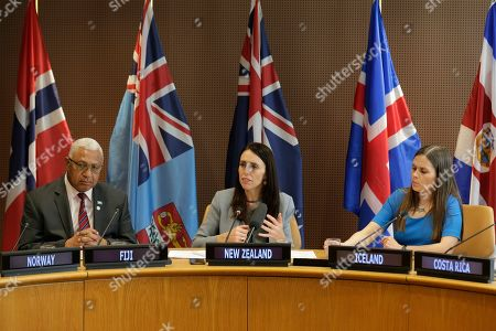 Jacinda Ardern, Frank Bainimarama, Katrin Jakobsdottir. While the Prime Minister of New Zealand Jacinda Ardern, center, speaks the Prime Minister of Fiji Frank Bainimarama, left, and the Prime Minister of Iceland Katrin Jakobsdottir listen during a news event at U.N. headquarters . The countries were announcing a new initiative on climate change and trade