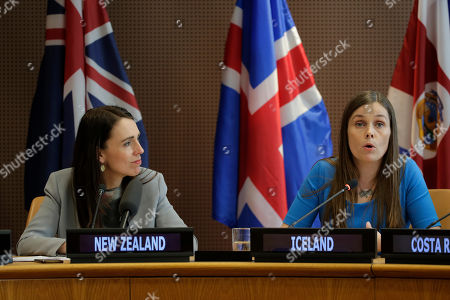 Jacinda Ardern, Katrin Jakobsdottir. The Prime Minister of New Zealand Jacinda Ardern, left, listens as the Prime Minister of Iceland Katrin Jakobsdottir speaks at a news event at U.N. headquarters . The countries were announcing a new initiative on climate change and trade