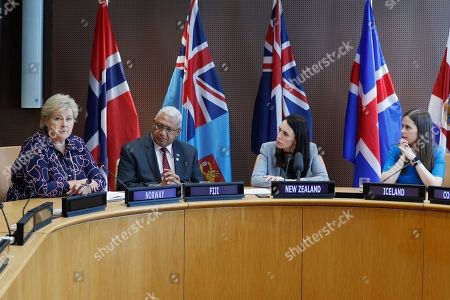 Erna Solberg, Frank Bainimarama, Jacinda Ardern, Katrin Jakobsdottir. The Prime Minister of Norway Erna Solberg, left, the Prime Minister of Fiji Frank Bainimarama, second from left, the Prime Minister of New Zealand Jacinda Ardern, second from right, and the Prime Minister of Iceland Katrin Jakobsdottir participate in a press event at U.N. headquarters . The countries were announcing a new initiative on climate change and trade