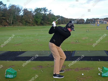 KINGSBARNS, SCOTLAND. 28 SEPTEMBER 2019: Shane Warne on the range before round three of the Alfred Dunhill Links Championship, European Tour Golf Tournament at Kingsbarns, Scotland