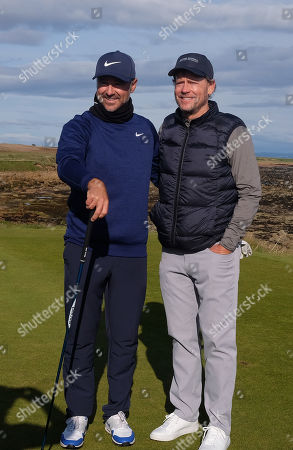 KINGSBARNS, SCOTLAND. 28 SEPTEMBER 2019: Trevor Immelman of South Africa and actor Greg Kinnear during round three of the Alfred Dunhill Links Championship, European Tour Golf Tournament at Kingsbarns, Scotland