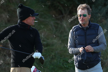 KINGSBARNS, SCOTLAND. 28 SEPTEMBER 2019: Shane Warne and Greg Kinnear during round three of the Alfred Dunhill Links Championship, European Tour Golf Tournament at Kingsbarns, Scotland