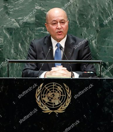 President of the Iraq Barham Salih speaks during the general debate of the 74th session of the General Assembly of the United Nations at United Nations Headquarters in New York, New York, USA, 25 September 2019. The annual meeting of world leaders at the United Nations runs until 30 September 2019.
