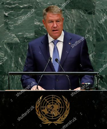 President of the Romania Klaus Werner Iohannis speaks during the general debate of the 74th session of the General Assembly of the United Nations at United Nations Headquarters in New York, New York, USA, 25 September 2019. The annual meeting of world leaders at the United Nations runs until 30 September 2019.