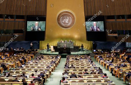 President of Iraq Barham Salih speaks during the general debate of the 74th session of the General Assembly of the United Nations at United Nations Headquarters in New York, New York, USA, 25 September 2019. The annual meeting of world leaders at the United Nations runs until 30 September 2019.