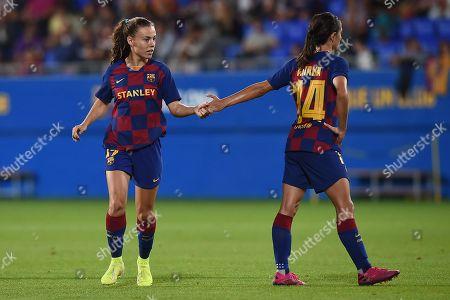Aitana Bonmati of FC Barcelona greets Aitana Bonmati of FC Barcelona greets Candela Andújar of FC Barcelona