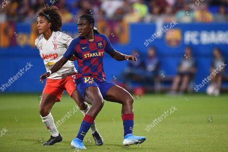 Asista Oshoala of FC Barcelona and Sara Gama of Juventus