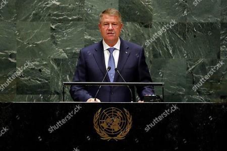 Romania's President Klaus Werner Iohannis addresses the 74th session of the United Nations General Assembly