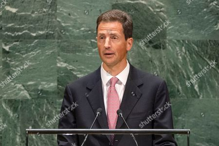 Stock Picture of Prince Hans-Adam II of Liechtenstein addresses the general debate of the United Nations General Assembly's seventy-fourth session.