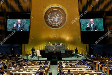 Iraq's President Barham Salih addresses the 74th session of the United Nations General Assembly