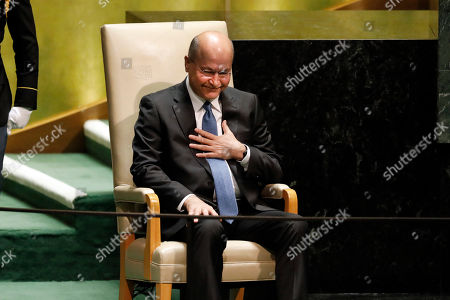 Iraq's President Barham Salih acknowledges delegates' applause after his address to the 74th session of the United Nations General Assembly