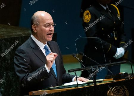 Iraqi President Barham Salih addresses the 74th session of the United Nations General Assembly, at the United Nations headquarters