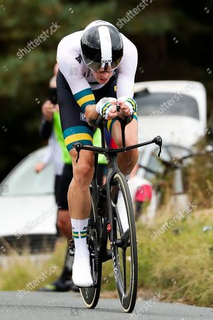 Stock Photo of Australia's Rohan Dennis competes on his way to win the men's elite individual time trial event, at the road cycling World Championships in Harrogate, England