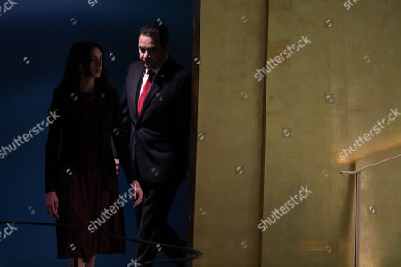 Guatemalan President Jimmy Morales, is escorted to address the General Debate of the 74th session of the General Assembly of the United Nations at United Nations Headquarters in New York, New York, USA, 25 September 2019. The annual meeting of world leaders at the United Nations runs until 30 September 2019.