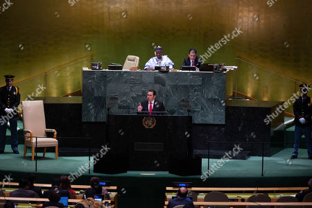 Guatemalan President Jimmy Morales addresses the General Debate of the 74th session of the General Assembly of the United Nations at United Nations Headquarters in New York, New York, USA, 25 September 2019. The annual meeting of world leaders at the United Nations runs until 30 September 2019.