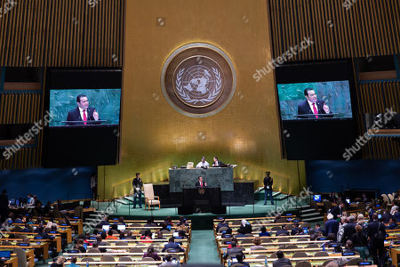 Stock Picture of Guatemalan President Jimmy Morales addresses the General Debate of the 74th session of the General Assembly of the United Nations at United Nations Headquarters in New York, New York, USA, 25 September 2019. The annual meeting of world leaders at the United Nations runs until 30 September 2019.