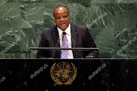 Stock Photo of King Mswati III, of Swaziland, which now calls itself Eswatini, addresses the 74th session of the United Nations General Assembly