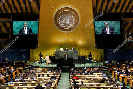 Stock Image of King Mswati III, of Swaziland, which now calls itself Eswatini, addresses the 74th session of the United Nations General Assembly