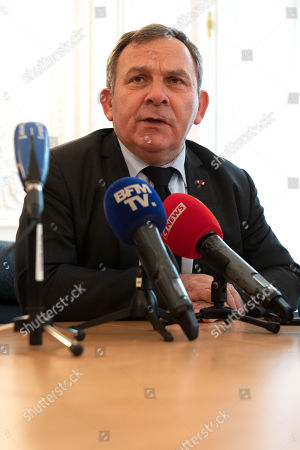 Francis Szpiner, lawyer of Sandra Muller, who created the hashtag #balancetonporc (rat on your pig), gives a press conference in Paris, France, 25 September 2019. Muller started a viral campaign in 2017 to encourage women to expose their sexual harassers. She was found guilty of defamation and ordered to pay 20,000 euros of damages to her ex-TV boss Eric Brion, on 25 September 2019, in Paris. Muller would appeal.