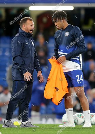 Chelsea Assistant Manager, Jody Morris has a word with Reece James of Chelsea ahead of kick-off during Chelsea vs Grimsby Town, Caraboa Cup Football at Stamford Bridge on 25th September 2019