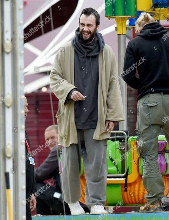Joseph Gilgun on set filming for TV show 'Brassic'.