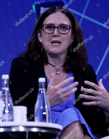 Cecilia Malmstrom, European Commissioner for Trade speaks at the Bloomberg Global Business Forum 2019 at the Plaza Hotel in New York, New York, USA, 25 September 2019. World leaders gathered for the United Nations General Debate this week, and business leaders are gathering for the event, which was organized by Bloomberg Philanthropies, to discuss economic and trade issues, globalization, innovation, and competition.