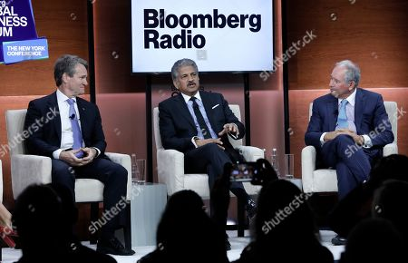 (L-R) Brian Moynihan, chairman and CEO of Bank of America, Anand Mahindra, chairman of the Mahindra Group; and Stephen Schwarzman, co-founder, chairman & CEO of the The Blackstone Group attend the Bloomberg Global Business Forum 2019 at the Plaza Hotel in New York, New York, USA, 25 September 2019. World leaders gathered for the United Nations General Debate this week, and business leaders are gathering for the event, which was organized by Bloomberg Philanthropies, to discuss economic and trade issues, globalization, innovation, and competition.
