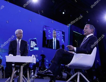 Robert Iger, chairman and chief executive officer of The Walt Disney Company (R) and Jamie Dimon, Chairman and CEO of JPMorgan Chase speak at the Bloomberg Global Business Forum 2019 at the Plaza Hotel in New York, New York, USA, 25 September 2019. World leaders gathered for the United Nations General Debate this week, and business leaders are gathering for the event, which was organized by Bloomberg Philanthropies, to discuss economic and trade issues, globalization, innovation, and competition.