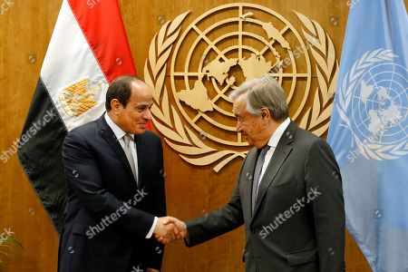 Stock Picture of Egypt's President Abdel Fattah el-Sisi, left, meets with Secretary-General Antonio Guterres during the 74th session of the U.N. General Assembly, at U.N. headquarters