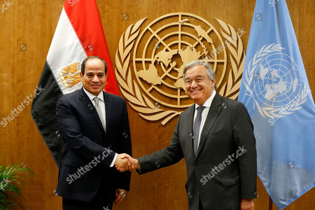 Egypt's President Abdel Fattah el-Sisi, left, meets with Secretary-General Antonio Guterres during the 74th session of the U.N. General Assembly, at U.N. headquarters