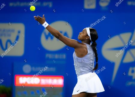 Sloane Stephens of the United States in action during her third-round match