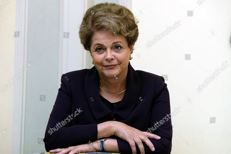 Stock Photo of Former Brazilian president Dilma Rousseff poses for the media during an interview to Spanish news agency EFE held in Madrid, Spain, 25 September 2019. Rousseff qualified the speech of Jair Bolsonaro at UN headquarters as a 'planetary shame'.