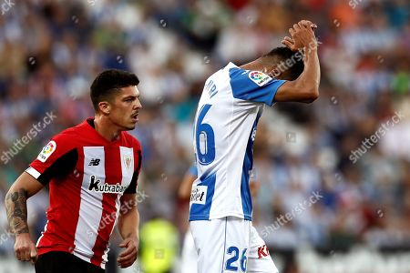 Stock Photo of Leganes' forward Youssef En Nesyri (R) reacts during the Spanish LaLiga match between CD Leganes and Athletic Club de Bilbao at Butarque stadium in Leganes, Madrid, Spain, 25 September 2019.