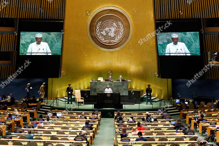 Chad's President Idriss Deby Itno addresses the 74th session of the United Nations General Assembly