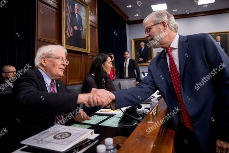 Daniel Elwell, David Price. Federal Aviation Administration Deputy Director Daniel Elwell, right, greets Chairman Rep. David Price, D-N.C., left, before a House Appropriations subcommittee oversight hearing on FAA aviation certification on Capitol Hill in Washington